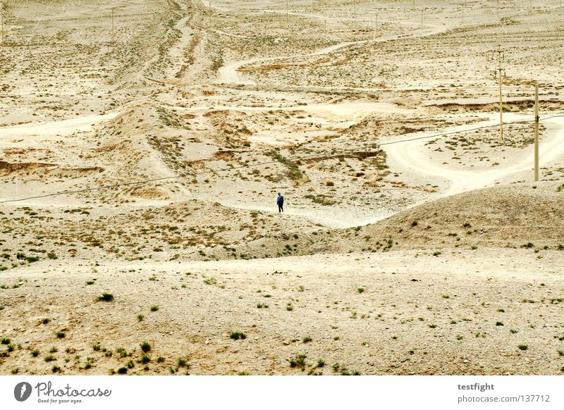 gobi In transit Loneliness Empty Dry Rough Grief Beautiful Stone desert China Gangsu Chinese Going Desert lonely lost far and wide Sand Human being Sadness