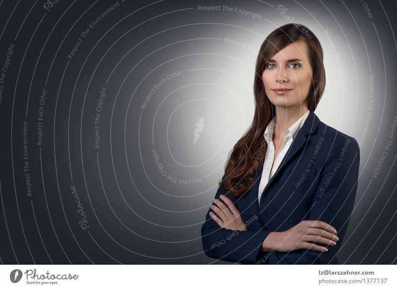 Businesswoman with a friendly expression Style Face Success Work and employment Human being Woman Adults Shirt Jacket Brunette Think Smiling Stand Friendliness