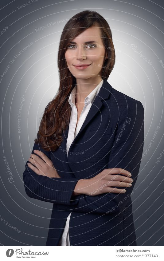 Businesswoman with a friendly expression Human being Woman Face Adults Style Gray Think Work and employment Modern Copy Space Success Stand Smiling Friendliness