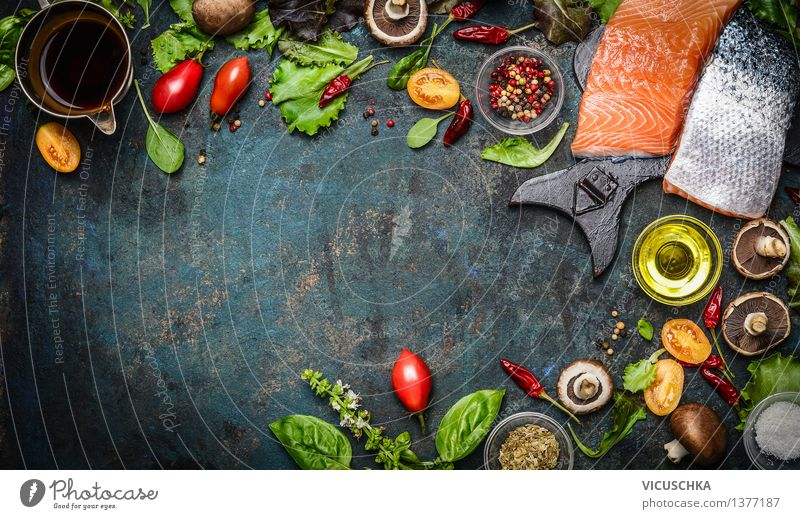 Healthy Eating Life Style Background picture Food Party Design Nutrition Table Herbs and spices Kitchen Fish Vegetable Flag Organic produce Restaurant