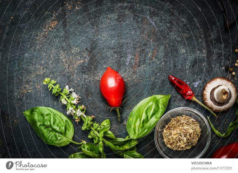 Basil and tomatoes on a rustic background Food Vegetable Herbs and spices Nutrition Organic produce Vegetarian diet Diet Style Healthy Eating Life Summer Table