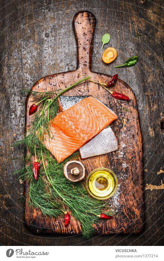 Delicious salmon fillet with dill, oil and ingredients for cooking Food Fish Vegetable Herbs and spices Cooking oil Nutrition Lunch Dinner Banquet