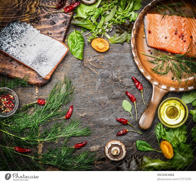 Fresh salmon fillet with ingredients for tasty cuisine Food Fish Vegetable Herbs and spices Cooking oil Nutrition Lunch Dinner Banquet Organic produce