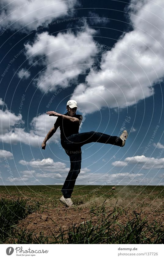 Man Hand Beautiful Summer Joy Clouds Playing Warmth Legs Bright Weather Footwear Field Arm Soccer Electricity