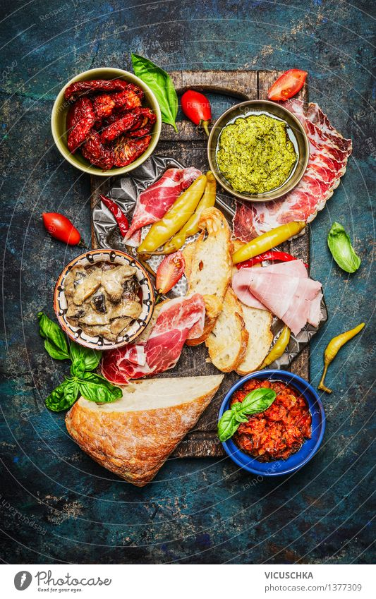 Delicious antipasti ingredients for sandwiches Food Meat Sausage Vegetable Lettuce Salad Bread Roll Herbs and spices Nutrition Lunch Dinner Buffet Brunch