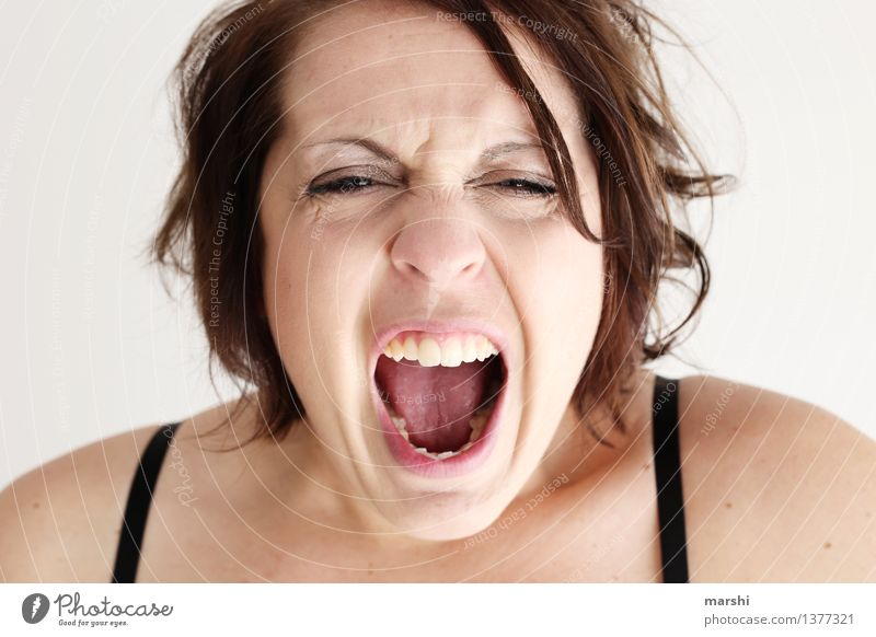 tantrum Human being Feminine Young woman Youth (Young adults) Woman Adults Head 1 30 - 45 years Hair and hairstyles Emotions Moody Scream Anger Expression