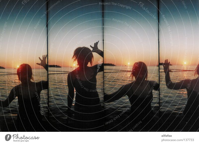 Hop hop hooray! Beach Sunset Red Horizon Woman Jump 4 Vacation & Travel Ocean Wet Top Braids Fingers Waves Yellow Black Lomography Dusk afterglows Sky Water