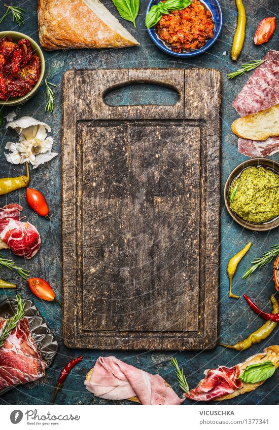 Ingredients for sandwiches and antipasti Food Meat Sausage Vegetable Lettuce Salad Bread Herbs and spices Cooking oil Nutrition Lunch Dinner Banquet Picnic
