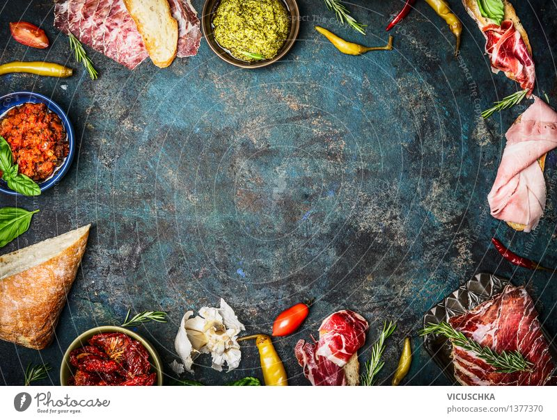 Ingredients for Italian Snack Food Vegetable Lettuce Salad Bread Herbs and spices Nutrition Lunch Dinner Buffet Brunch Picnic Organic produce Plate Bowl Style