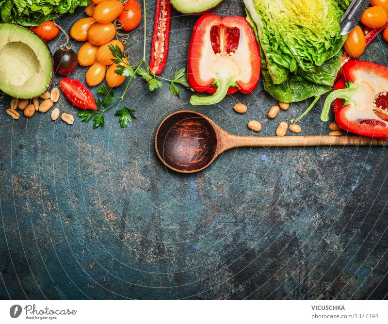 Colourful organic vegetables with cooking spoon Food Vegetable Lettuce Salad Herbs and spices Nutrition Lunch Dinner Organic produce Vegetarian diet Diet Spoon