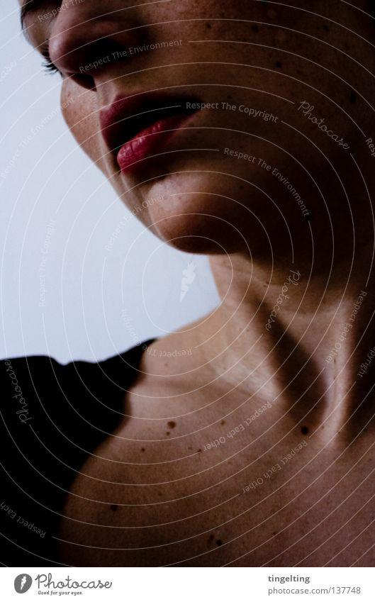nod Woman Feminine Lips Eyelash Shadow Dark Calm Near Face Neck Mouth Nose