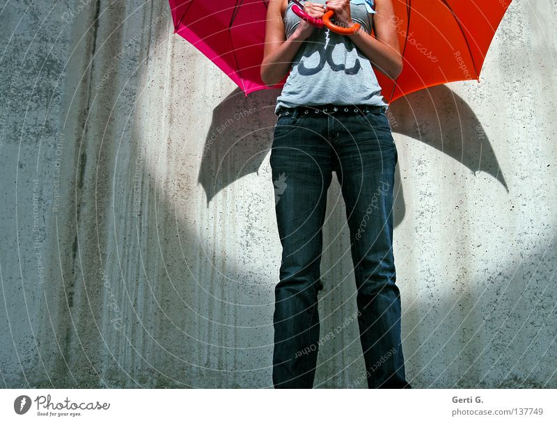 Woman Human being Wall (building) Gray Wall (barrier) Orange 2 Contentment Arm Pink Flying Airplane In pairs Crazy Wing Stripe