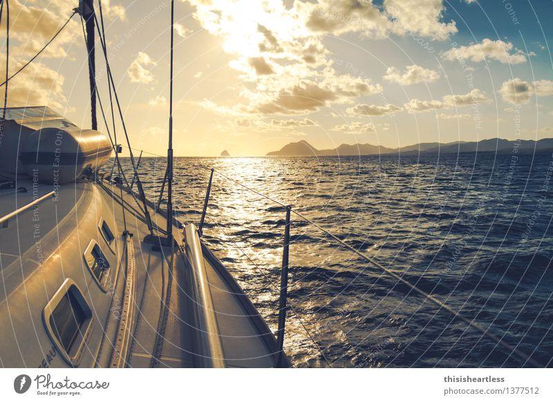 Direction horizon Vacation & Travel Adventure Aquatics Sailing Landscape Water Ocean Caribbean Caribbean Sea trade wind Navigation Boating trip Yacht Sailboat