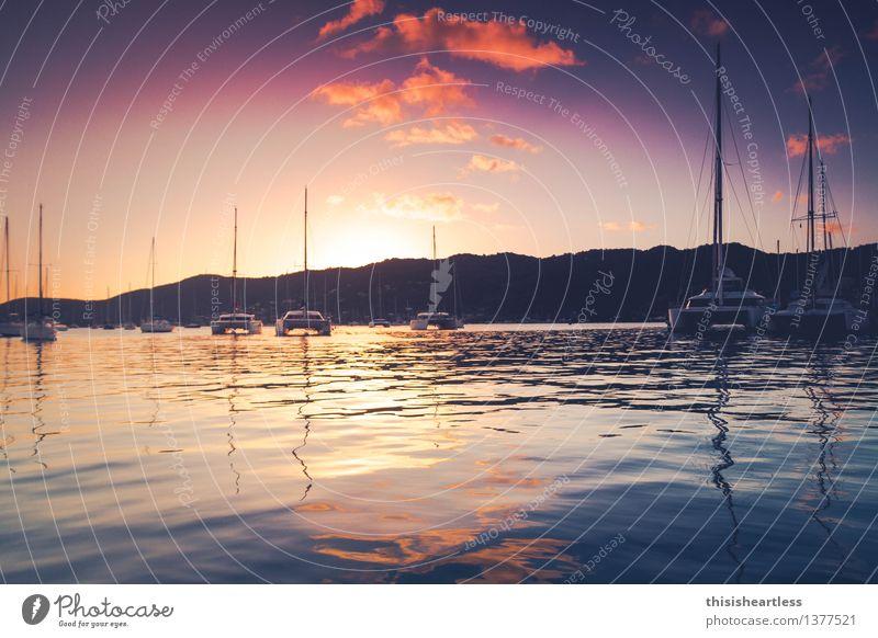 Purple Clouds Vacation & Travel Sun Ocean Island Sailing Water Sunrise Sunset Summer Beautiful weather Bay Fjord Navigation Sport boats Yacht Sailboat