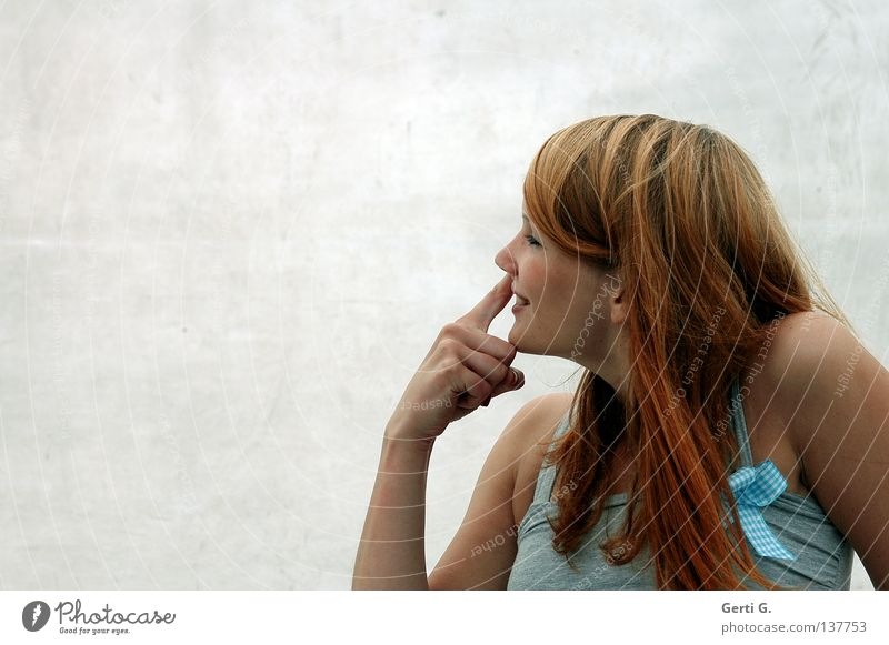 Woman with draught Young woman Beautiful Clean Dirty Moral Bow Checkered Hand Fingers Long-haired Red-haired Silhouette Happiness Profound Congenial Draft