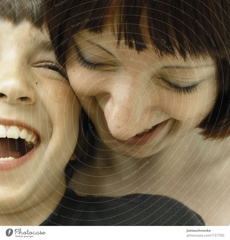 Little brother and sister Child Boy (child) Girl Woman Love Like Caresses Kissing Brothers and sisters Cuddling Trust Together Laughter Funny Sounds of levity