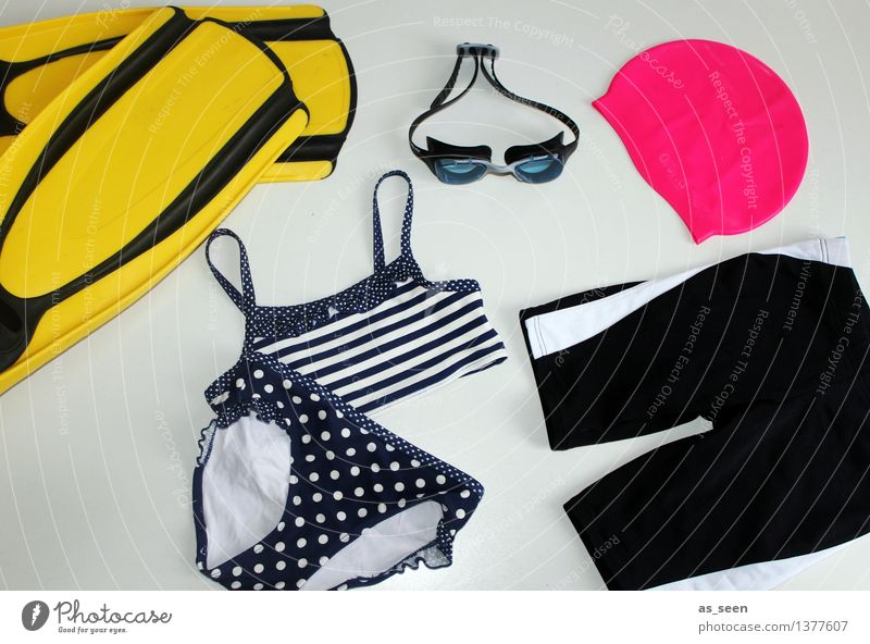 Cool at the pool Swimming pool Swimming & Bathing Water wings Bikini Swimming trunks Bathing cap Collection Lie Wet Yellow Pink Black Happiness Anticipation