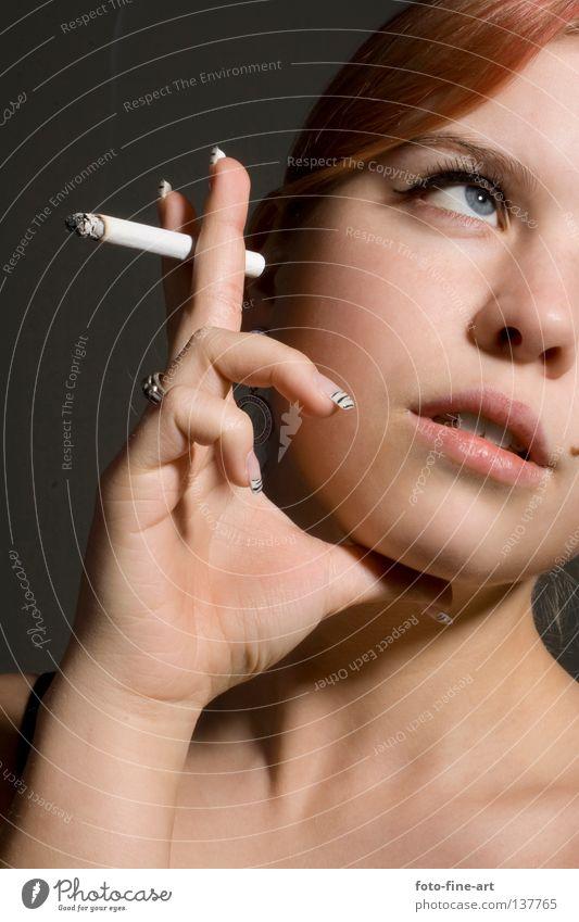 Woman Hand Red Eyes Hair and hairstyles Think Skin Fingers Romance Smoking Make-up Cigarette Neck Eyelash Fingernail Mole