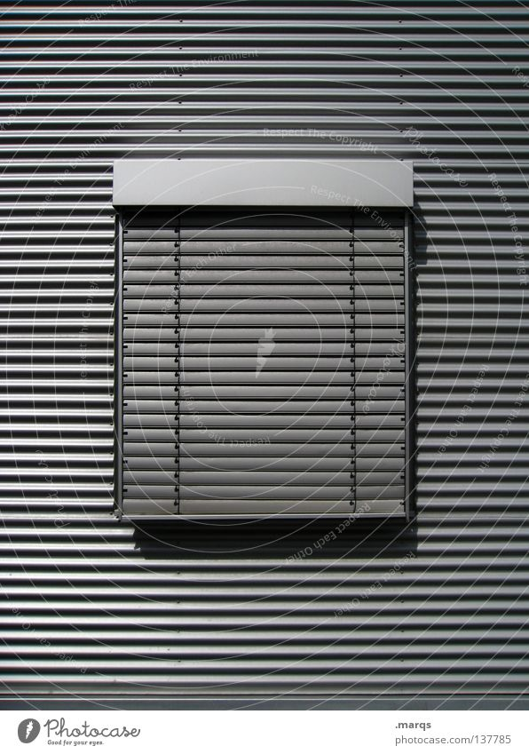 Closed today Wall (building) Window Facade Middle Public Holiday Shutter Geometry Black White Gray Structures and shapes Clean Smoothness Shaft of light Shadow