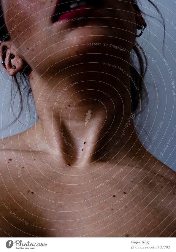 Woman Calm Face Feminine Dark Mouth Skin Nose Lips Near Neck Eyelash