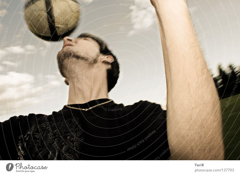 Man Hand Sky Joy Face Black Clouds Sports Jump Movement Hair and hairstyles Head Soccer Power Arm Nose