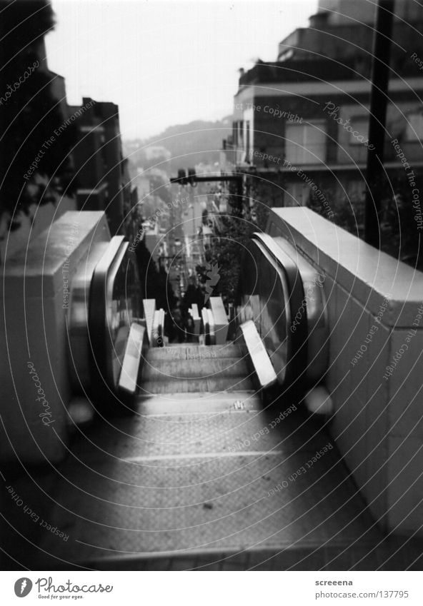 Hiding On The Staircase Escalator Holga Barcelona Gray White December Physics Town Black Landmark Monument bcn Warmth Stairs