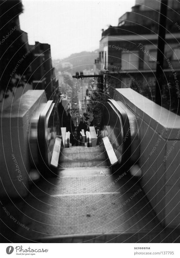 White City Black Gray Warmth Stairs Physics Monument Landmark Barcelona December Escalator