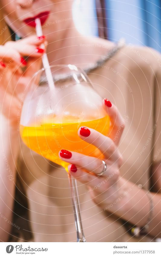 orange drink Beverage Cold drink Juice Wine Sparkling wine Prosecco Champagne Glass Lifestyle Elegant Style Design Joy Beautiful Manicure Lipstick Harmonious