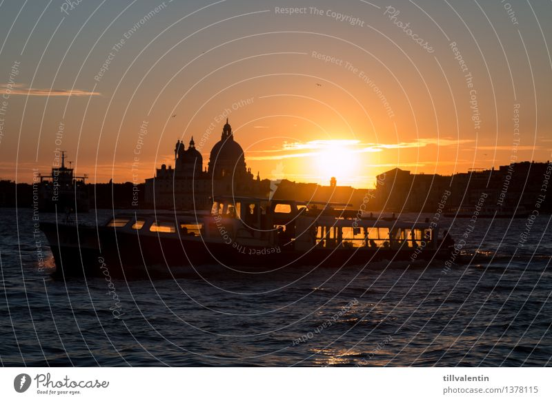Sundown in Venice No. 2 Waves Bay Ocean Lagoon Water Italy Europe Downtown Old town Skyline Church Dome Manmade structures Building Architecture