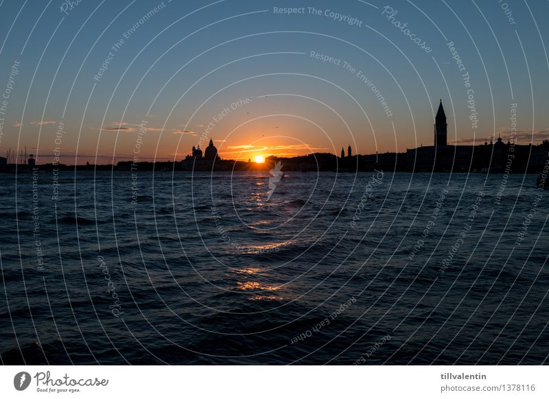 Sundown in Venice No. 3 Italy Europe Town Downtown Old town Skyline House (Residential Structure) Church Dome Palace Roof Tourist Attraction Landmark Monument