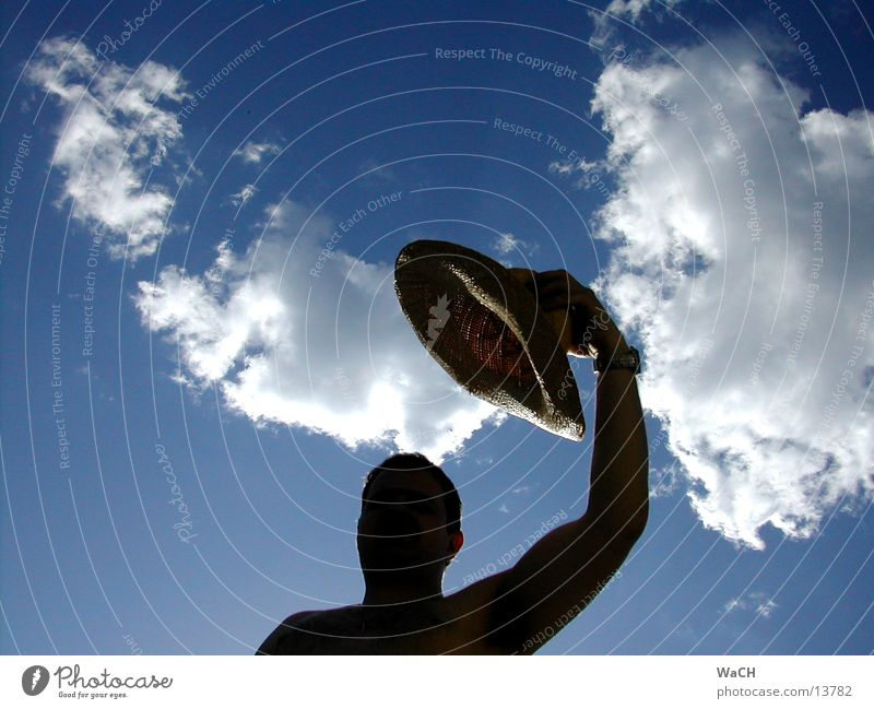 Human being Sky Man Blue Hand Summer Joy Clouds Black Head Perspective Shoulder Converse Welcome Straw Shadow play