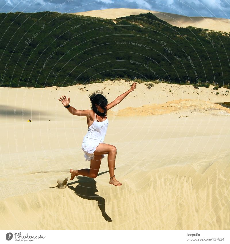 Jump! Colour photo Exterior shot Copy Space top Day Light Sunlight Central perspective Joy Playing Adventure Freedom Summer Beach Feminine Young woman