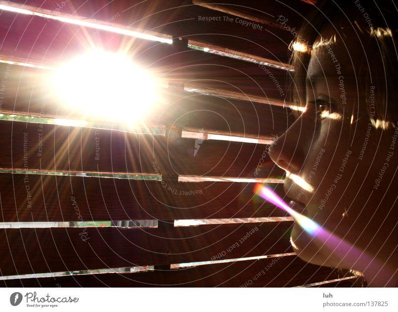 Girl Summer Vantage point Observe Stripe Longing Expectation Sun Bedroom Venetian blinds Arise Shaft of light Portrait photograph Sunspot