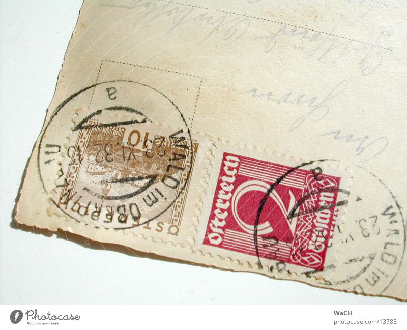 Old Communicate Characters Card Mail Austria Stamp Addressee Collector's item Postmark