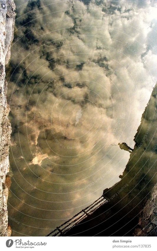 Human being Water Sky Clouds Bridge River Analog Double exposure Supernova
