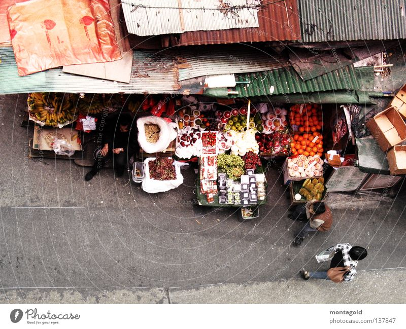 Fruit Roof Asia China Vegetable Hut Traffic infrastructure Markets Pedestrian Hongkong Chinese Merchant Asians Market stall Tar paper