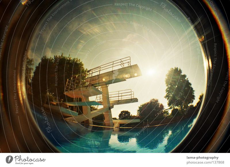 Sky Water Sun Summer Closed Large Empty Circle Round Swimming pool Sphere Analog Handrail Beautiful weather Basin Springboard