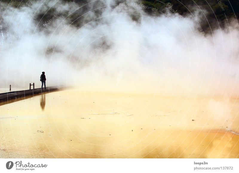 Nature Water Vacation & Travel Yellow Far-off places Life Cold Stone Sadness Lake Think Landscape Air Moody Fog Blaze