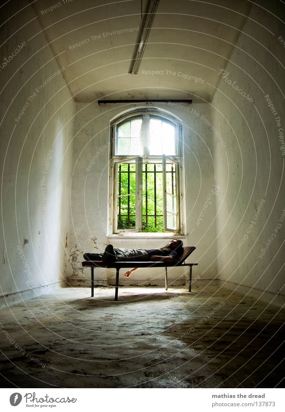 Human being Man Old Beautiful Sun Loneliness Calm Relaxation Death Dark Window Wall (building) Legs Lamp Line Healthy