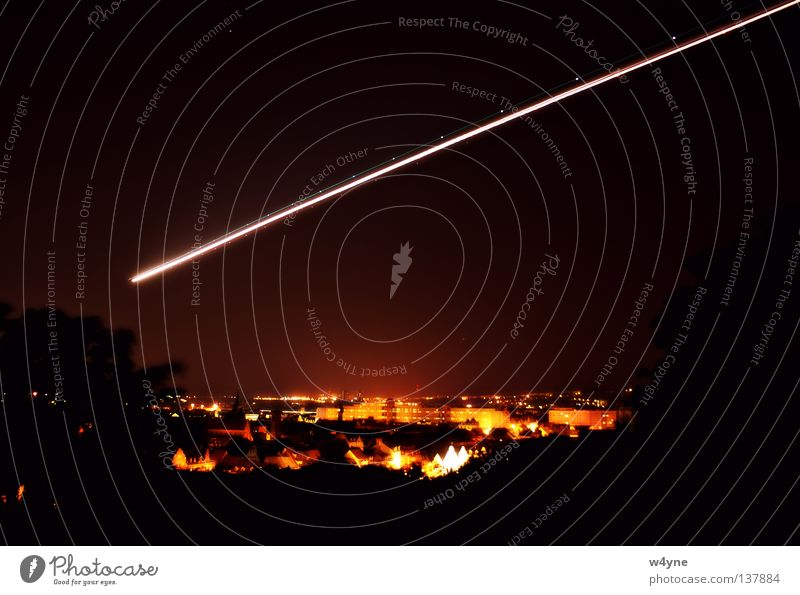 City Airplane Radiation Glow Old town Arrival Tracer path Erfurt