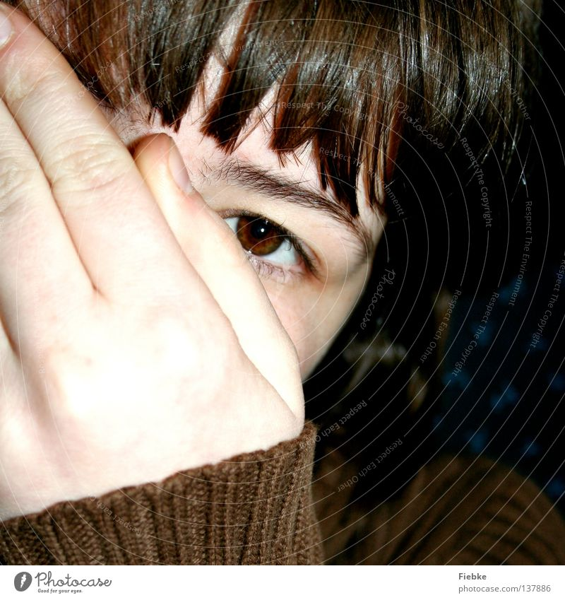 Can't see me! Brown Hand Fingers Fingernail Untidy Tousled Disheveled Jacket Sweater Eyebrow Eyelash Hide Mysterious Playing Fear Timidity Youth (Young adults)