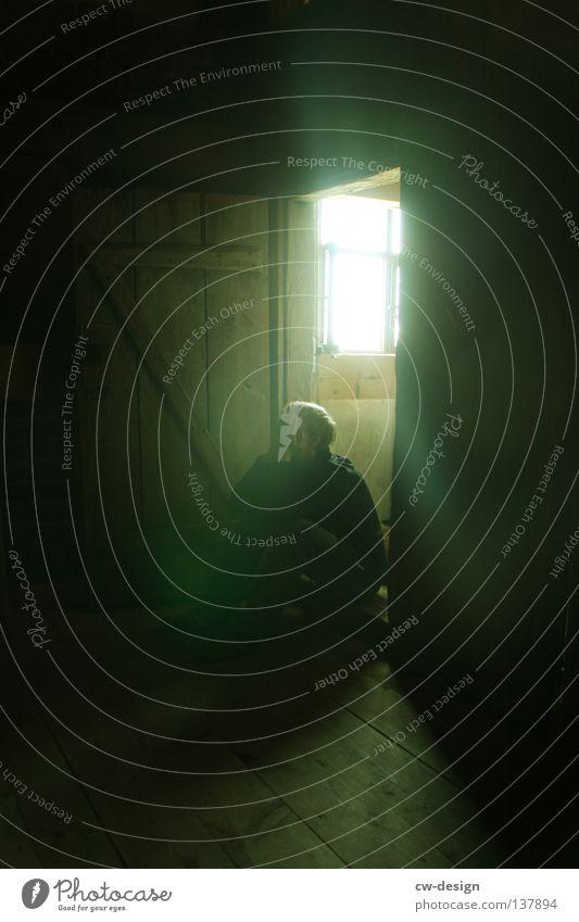 Human being Man Green Loneliness Dark Window Fear Wait Door Sit Dangerous Gloomy Threat Transience Derelict Obscure