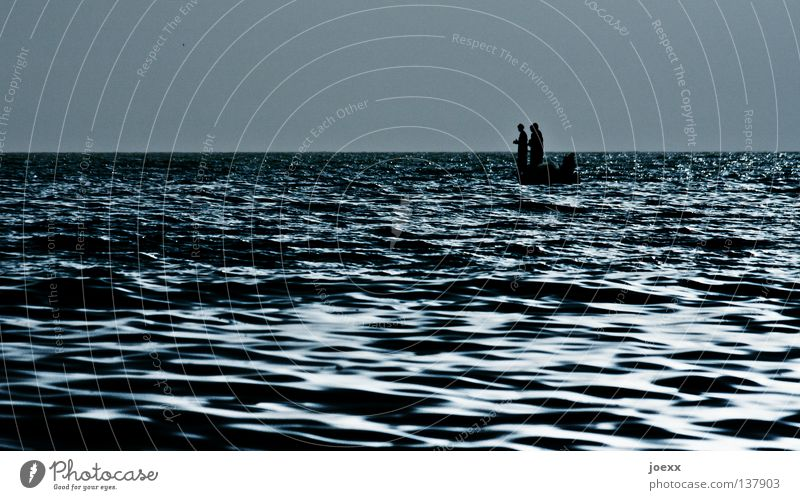 Three men in one boat Drift Fishing (Angle) Work and employment Watercraft Narrow Fisherman Fishing boat Hard Horizon Small Man Ocean Morning Calm Lake