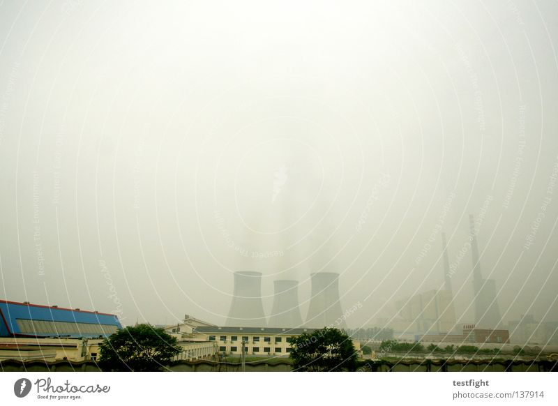 Beijing 2008 Smog Dust Clang Dark Bad weather Fog Nuclear Power Plant Coal power station Raw materials and fuels Gloomy Hideous Negative China Olympics Industry