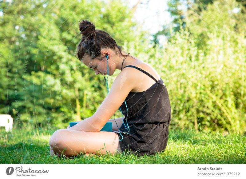 Human being Woman Nature Youth (Young adults) Beautiful Summer Young woman Relaxation Adults Feminine Style Lifestyle Garden Park Contentment