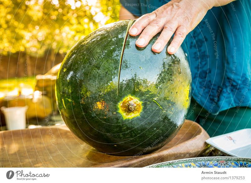 Cut melon Food Fruit Water melon Melon Nutrition Picnic Vegetarian diet Knives Lifestyle Luxury Healthy Summer Human being Hand 1 Nature Sunlight Spring
