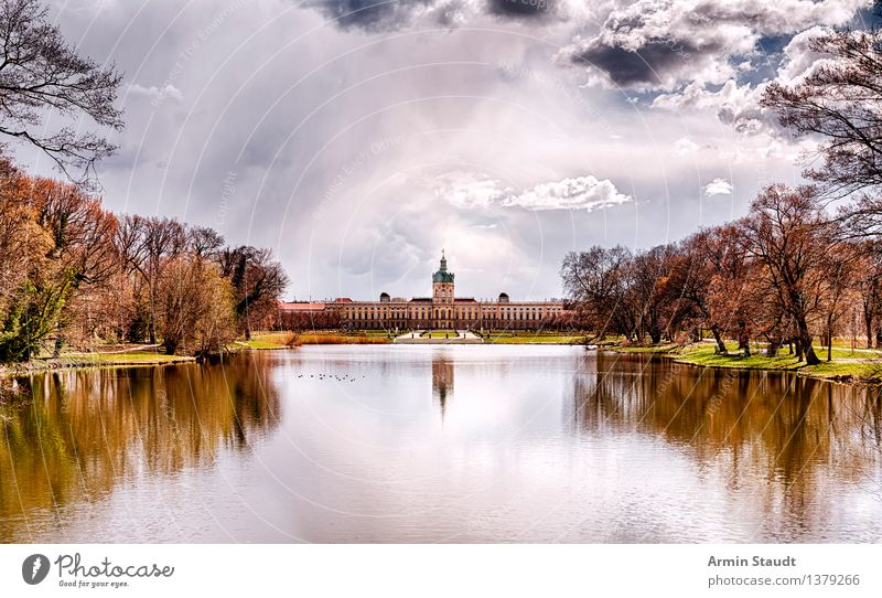 Charlottenburg Palace Luxury Style Design Relaxation Calm Far-off places Air Sky Clouds Autumn Beautiful weather Park Meadow Lake Castle Manmade structures