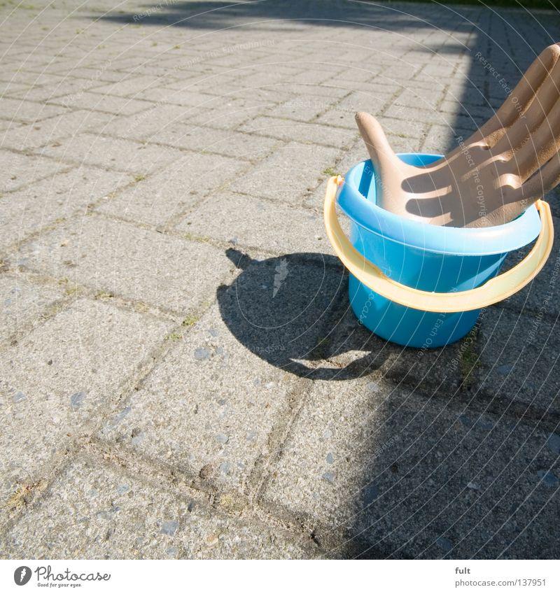 Hand Blue Yellow Farm Catch Door handle Bucket