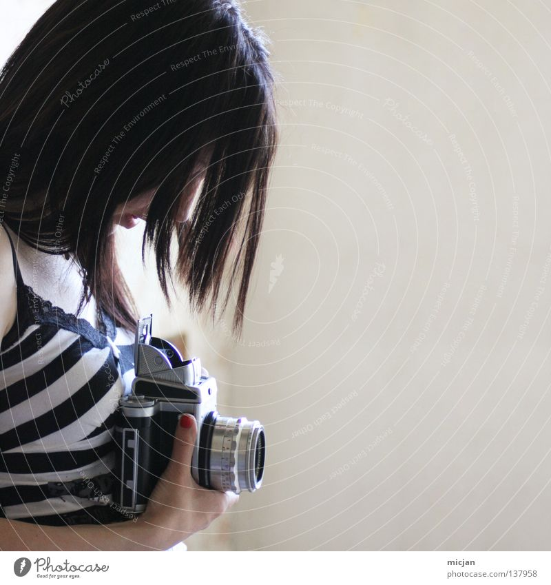 soul Woman Feminine Beautiful Style Photography Take a photo Striped Motive Analog Medium format Square Black Black-haired Hand Camera Gray Decent Timidity Calm