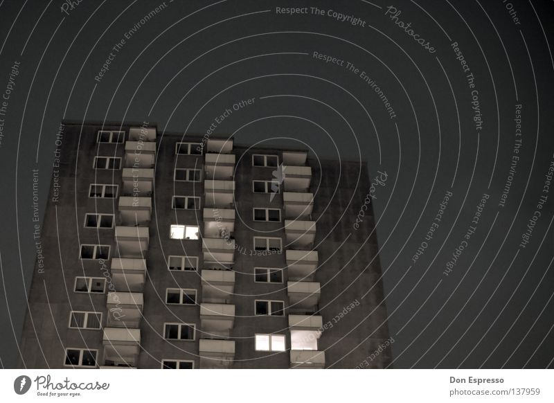 live better High-rise Ghetto Settlement Balcony Gray Loneliness Gloomy Dark Night Evening Prefab construction Unemployment Social law Light Tower block Town